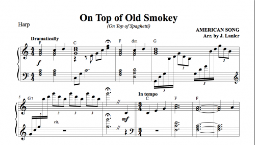 On Top of Old Smokey for Harp : Janet Lanier