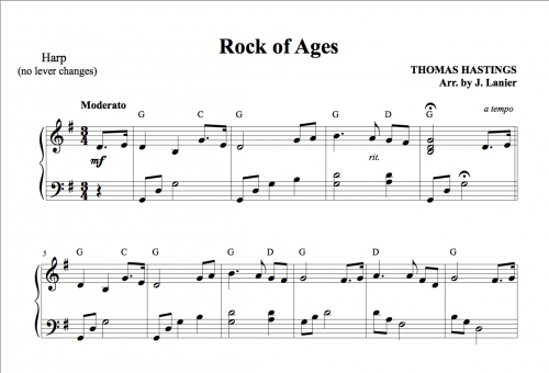 Rock of Ages for Harp : Janet Lanier